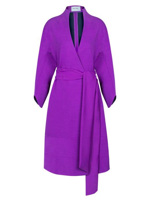 'Celia' Purple wrap coat dress E550.00